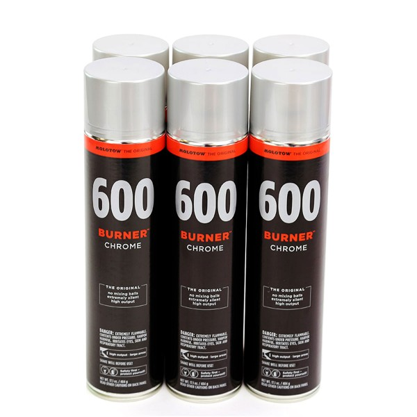 MOLOTOW Burner 600ml - 6er Sparpack Chrome