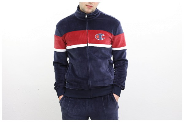 Champion Jacke - Velours Full Zip Track Top - Navy Red White