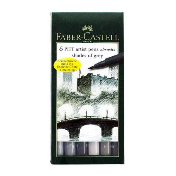 Faber-Castell - 6 Artist Pen Shades of Grey Brush Set