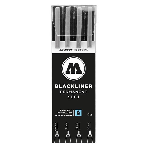 MOLOTOW Blackliner Marker 4er Set - Permanent Set 1