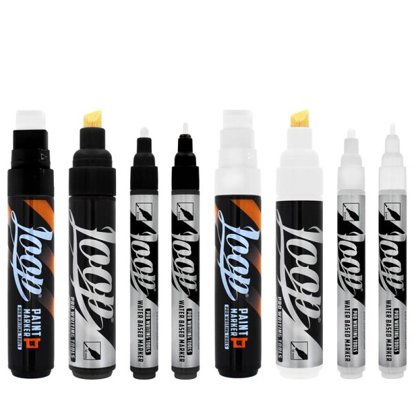 Loopcolors Water Based & Paint Marker - 8er Set Black-White