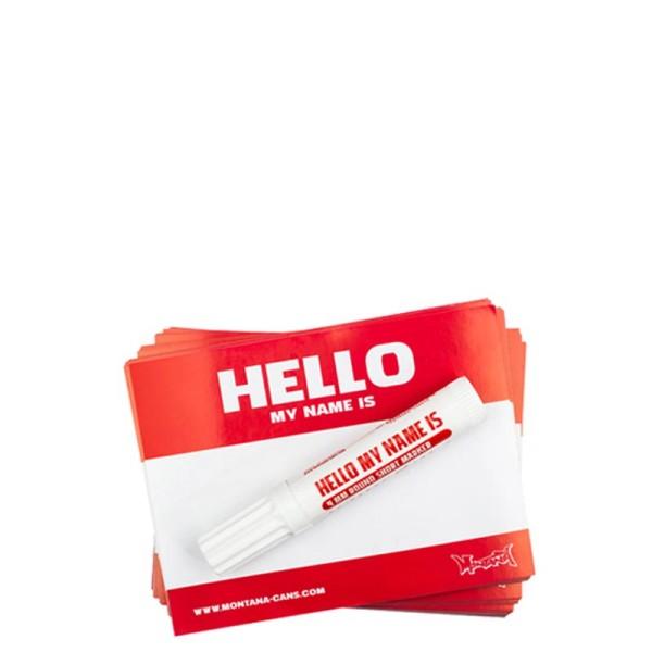 Montana Hello My Name Is Logo Sticker 100er - Rot