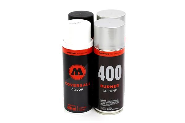 MOLOTOW CoversAll Burner 400ml - 4er Sparpack Black-Chrome-White