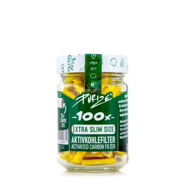 Purize Aktivkohlefilter XTRA Slim Size 100er Glas - 6 Farben